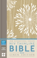 NIV, Thinline Bible, Linen Edition, Hardcover, Tan/White Linen, Red Letter Edition